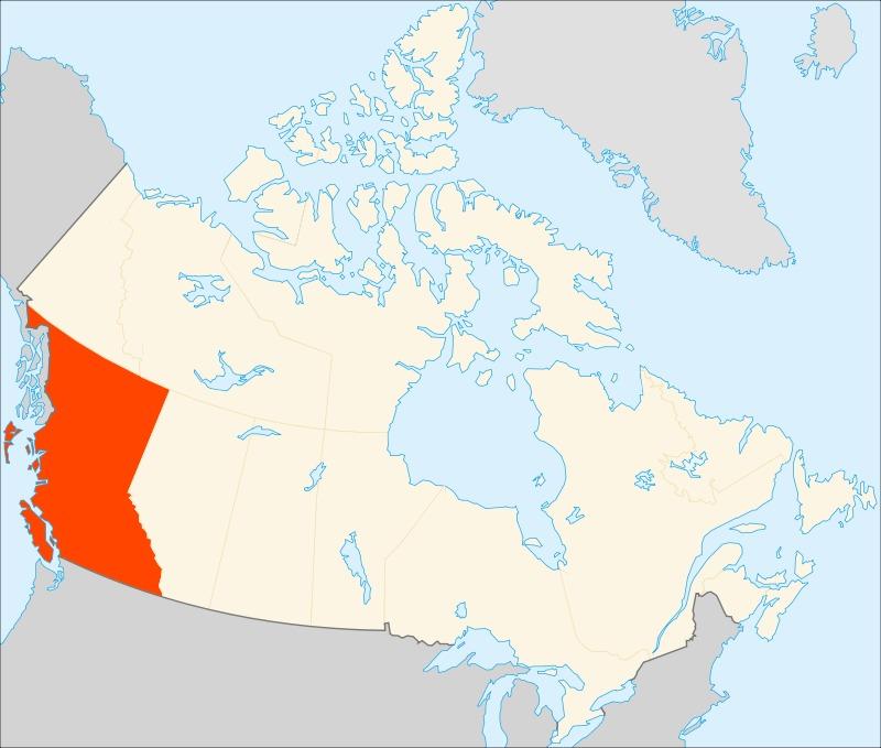 Британская Колумбия на карте Канады