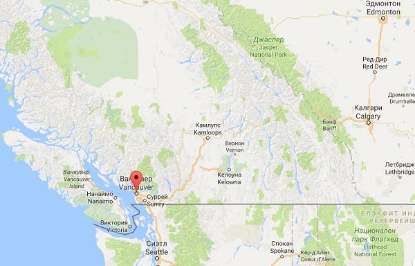 Ванкувер на карте Канады