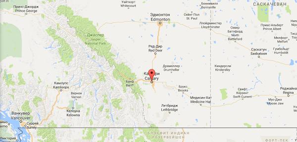 Калгари на карте Канады