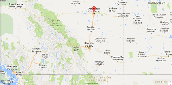 Эдмонтон на карте Канады