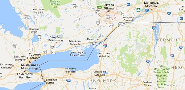 Оттава на карте Канады