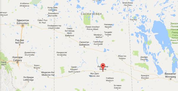 Реджайна на карте Канады