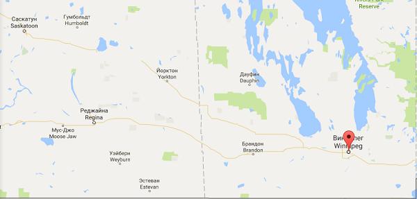 Виннипег на карте Канады